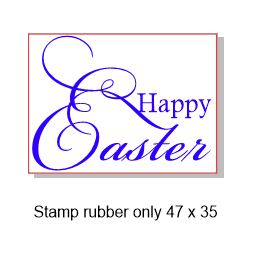Happy Easter  47 x 35mm  Rubber stamp, rubber only,Acrylic block