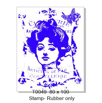 T0049 vintage lady ,Rubber stamp, Rubber only ,80 x 100mm