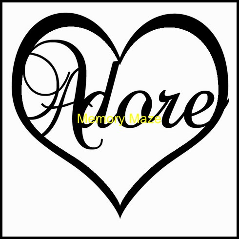 Adore in heart  75 x 75  in circle  bulk pack of 3