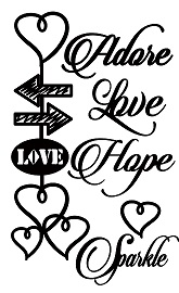 adore love hope hearts  100 x 180mm