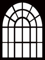 Window arched only with frame114x 150 mm