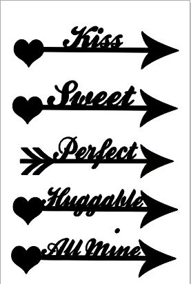 arrow words kiss    100 x 150 mm
