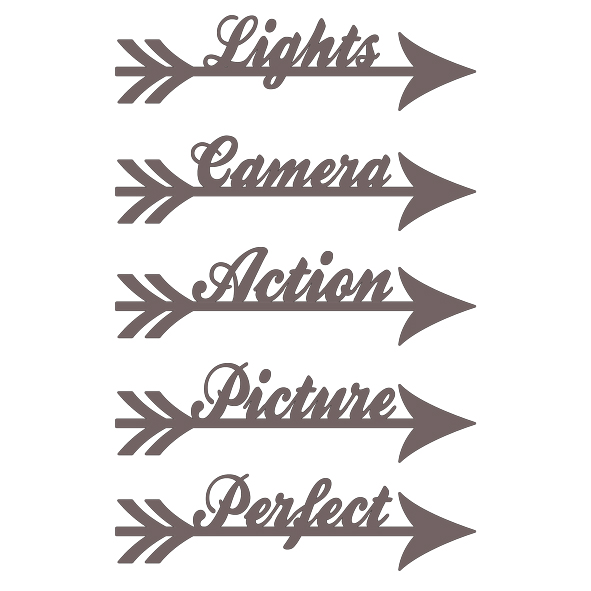 Arrow words lights camera action 100 x 150 mm