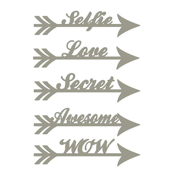 Arrow words Selfie love secret awesome wow 100 x 150