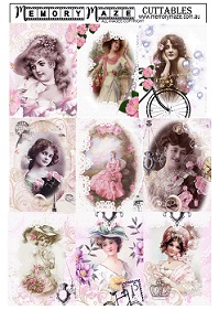 Vintage Girls all in pink a4  ,  Sheets require cutting