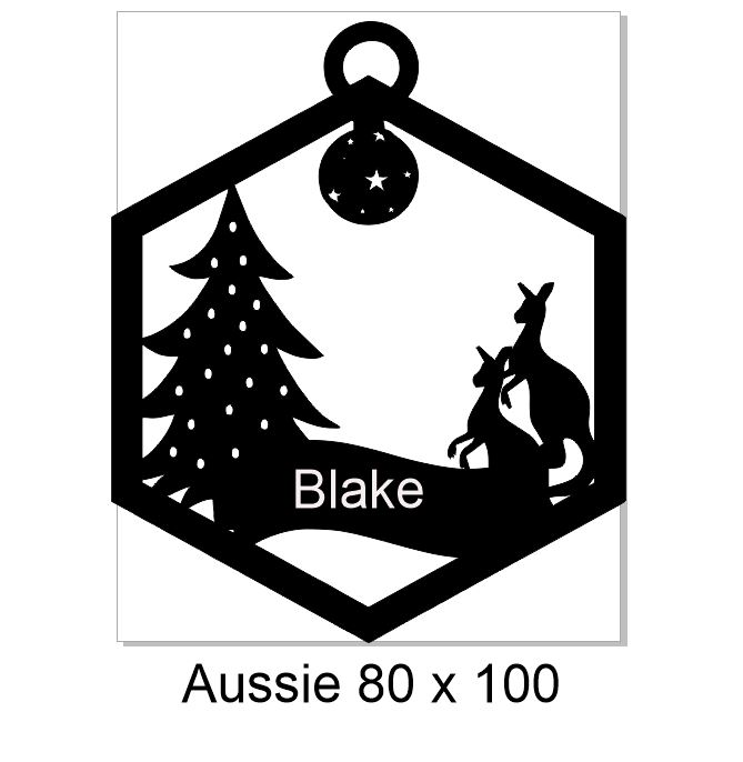 2018 Custom name Aussie 100 x 80 mm Christmas decoration