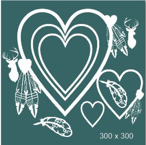 heart frames boho feathers ,deer  multi heart frames 300 x 300