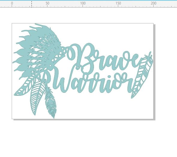 Brave warrior feathers chipboard  200 x 135.mm