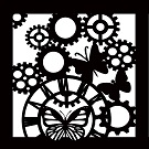 butterfly cogs stencil  8x8 inch