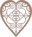 Heart decorative pkt of 3 48mm x 55