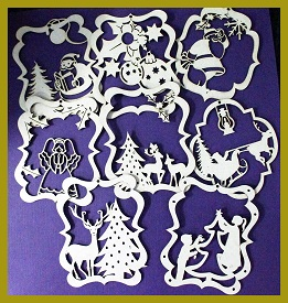 Christmas Decorations MULTI pack of 5 Assorted chipboard, colour