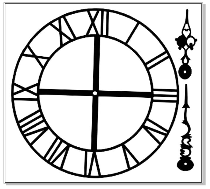 Clock face and hands 150 x 150 mm  vintage