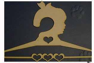 laser cut MDF coathangers  GIRL  11 inches long,