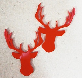 Acrylic deer head  RED 55 x 40mm pack of 4
