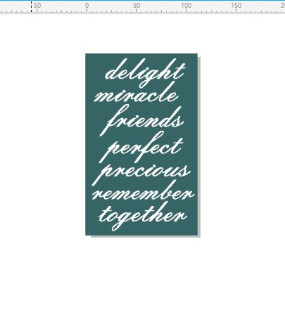 Delight, miracle, friends, words 110 x 180mm