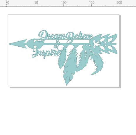 Dream believe and inspire feathers boho  200 x 130mm