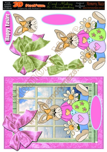 Easter Bunny with Pink and Green Bows