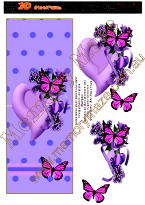 Purple Heart with butterfly long card