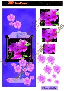 Pink Azaliaz with purple background long card