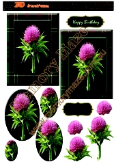 Scotch thistle & green tartan