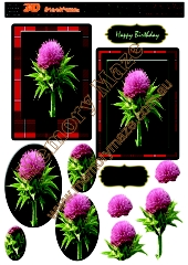 Scotch thistle with tartan