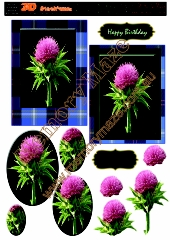 Scotch thistle with blue tartan