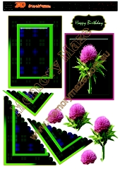 Scotch thistle with blue & green tartan