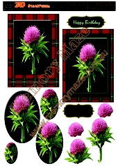 Scotch thistle with red tartan