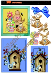 Easter Rabbit and bird house