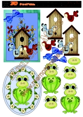 Bird house and frog