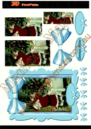 Santa at tree blue frame