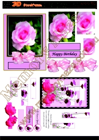 Pink rose small 2 cards