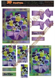 Purple pansies 2 cards