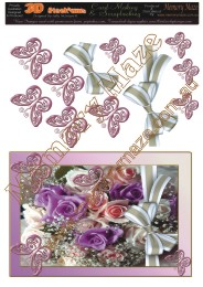 Pink and purple roses and butterflies