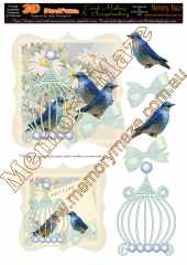 Vintage blue birds & insert 2