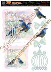 Vintage blue birds card pink & insert 2