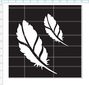 Feather stencil 8x8 or 200 x 200mm