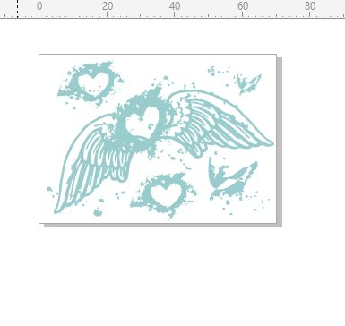 heart wings stamp 50 x 70. RUBBER ONLY
