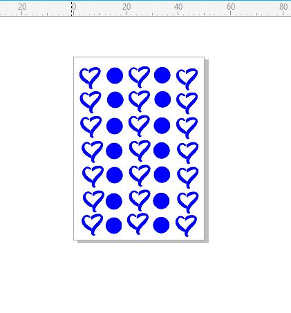Hearts and circles  stamp 30 x 70.RUBBER ONLY for use with stamp
