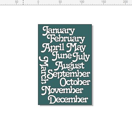 Months of the year 122 x 185MM