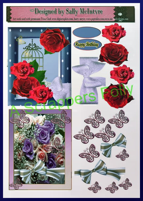 roses and floral cards 3d 2 card sheet