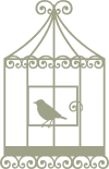 Bird Cage with Bird vintage  67mm x 105mm