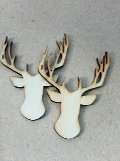 Timber deer head 55 x 40mm pack of 5 Av.  Timber Add a pin to th