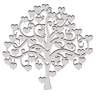 Heart signature tree chipboard