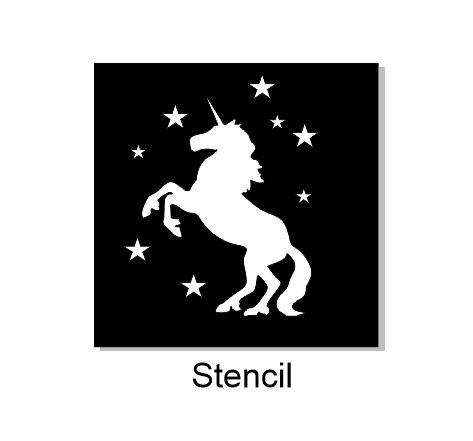 Unicorn standing stencil available in various sizes via drop dow