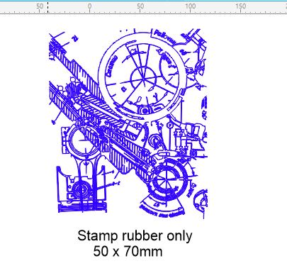 Vintage technical drawing stamp  50 x 60 mm