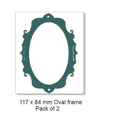 2 Piece Set Fancy Scrapbook Oval Frame Laser Cut Chipboard
